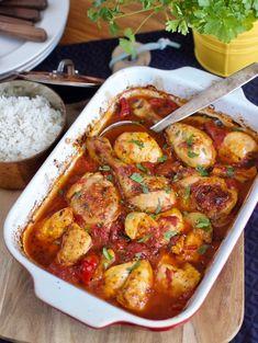 Pečené kuracie kúsky s paradajkami a paprikou - Zo srdca do hrnca