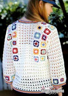 """Блуза с мотивами """"бабушкин квадрат""""."""