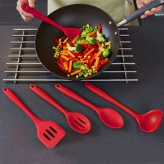 5pcs Silicone Kitchenware Suit Kitchen Tools Set Spatulas Spoon Slotted Turn Silicone Cake Tool