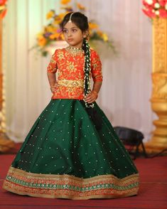 We always love to design for your cute little once. We have a huge range of kids collection and we can customize the color and size as per… Kids Blouse Designs, Choli Designs, Lehenga For Girls, Kids Dress Wear, Half Saree, Lehenga Choli, Frocks, Cute Kids, Ethnic