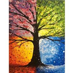Tree painting seasons art projects 54 ideas for 2019 Easy Canvas Painting, Simple Acrylic Paintings, Abstract Paintings, Painting & Drawing, Abstract Art, Canvas Art, Art Paintings, Acrylic Canvas, Colorful Paintings