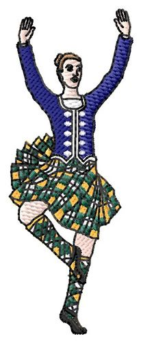 Grand Slam Designs Embroidery Design: Highland Dancer 3.42 inches H x 1.29 inches W $7