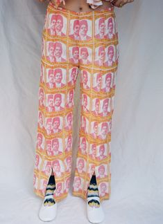 Hand-printed trouser with front slits and side zipper. Inspired by beedis packaging from India cotton. Made in Ahmedabad, India Model wears a size small which fits around a waist. Air Jordan Sneakers, Indian Textiles, Printed Trousers, Oval Sunglasses, Vintage Pink, Her Style, Air Jordans, Harem Pants, Prints