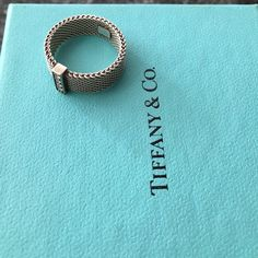 Ring sterling silver Tiffany mesh ring Somerset Tiffany & Co. Jewelry Rings