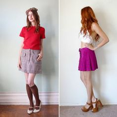 popular outfits from the 70s for women | 70s Plaid Brown Wool Miniskirt / '70s Purple Suede Lace-Up ...