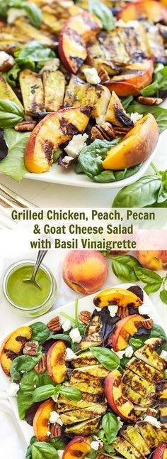 Grilled Chicken, Peach, Pecan, and Goat Cheese Salad with Basil Vinaigrette: basil Vinaigrette doubles as a marinade for the grilled chicken in the super flavorful summer salad. Basil Vinaigrette Recipe, Grilling Recipes, Cooking Recipes, Sausage Recipes, Cheese Recipes, Casserole Recipes, Beef Recipes, Main Dish Salads, Goat Cheese Salad