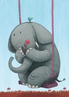 Oh how I love to go up in a swing. Illustration of an Elephant on a Swing Image Elephant, Elephant Love, Elephant Art, Elephant Nursery, Elephant Illustration, Children's Book Illustration, Character Illustration, Elefant Wallpaper, Illustration Inspiration