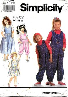 Simplicity 7184 Girls Size 7-14 Jumpsuit And Jumper or Sundress And Top Pattern, UNCUT by DawnsDesignBoutique on Etsy