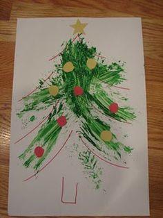Kids' Christmas tree painting