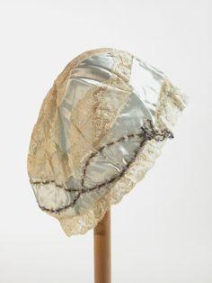 Satin and filet lace boudoir cap, c. 1920, English.