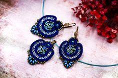 Blue soutache Boho earrings and necklace set Denim Earrings, Small Earrings, Blue Earrings, Etsy Earrings, Earrings Handmade, Handmade Jewelry, Christmas Gift Inspiration, Soutache Necklace, Necklace Set