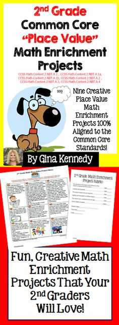 """This is a must have for any 2nd grade common core classroom. Nine creative differentiated """"place value"""" math projects that correlate with the following standards: CCSS.Math.Content.2.NBT.A.1 ,CCSS.Math.Content.2.NBT.A.1a, CCSS.Math.Content.2.NBT.A.1b, CCSS.Math.Content.2.NBT.A.2 , CCSS.Math.Content.2.NBT.A.3, and CCSS.Math.Content.2.NBT.A.4. These menus are excellent for early finishers, high achievers and talented and gifted students in your classroom or as homework for the whole class. $"""