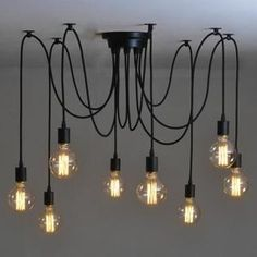 Suspensions Fer Forgé ajustable Rétro Lampe Salle A Manger Chambre Hôtel Chacune Avec 1.8m Fil 8 Bras (Pas D'Ampoule)