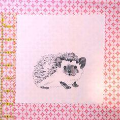 Original Fabric Square Hedgehog by HeatherVitticore on Etsy