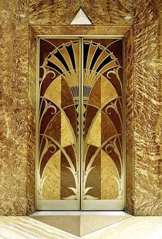 Chrysler Building Art Deco sunburst elevator.  Although short-lived, the Art Deco era (1925-1940) was a monumental movement that had a significant impact on aesthetics reaching out through a wide array of industries; from the Arts, Fashion, Furniture, Architecture, Transportation and everything in between.