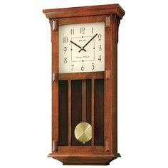 The Seiko Pendulum Wall Clock adds a classic look to any room. Featuring a brown wood case with a gold tone pendulum, this battery operated clock has a black Roman numeral face, and Westminster/Whittington quarter hour chimes and hourly strikes. Tabletop Clocks, Wood Clocks, Craftsman Wall Clocks, Craftsman Houses, Chiming Wall Clocks, Mission Style Furniture, Woodworking Furniture Plans, Woodworking Forum, Woodworking Apron