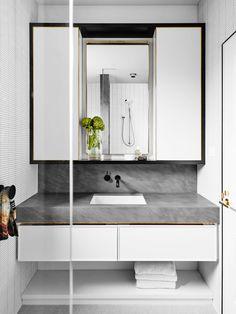 David Flack of Flack Studio - The Design Files Modern White Bathroom, Beautiful Bathrooms, Small Bathroom, Gold Bathroom, Compact Bathroom, Bathroom Goals, Bathroom Sets, Bathroom Tapware, Bathroom Toilets