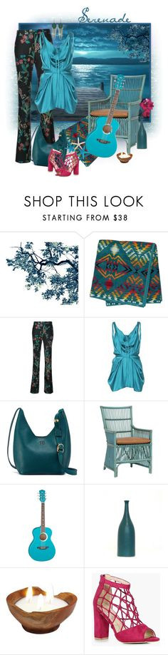 """""""Can't Get Tired of Color Turquoise"""" by valeria-meira ❤ liked on Polyvore featuring Pendleton, Giambattista Valli, Konsanszky, Tory Burch, Palecek, Luna, NOVICA, Boohoo, Holy Harlot and tropical"""