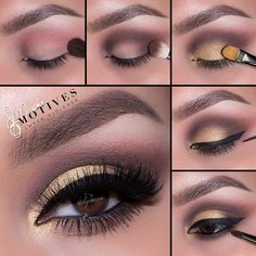 """Motives - """"She Sparkles"""" pictorial by Ely Marino: 1. Apply """"Birch"""" onto the brow bone! Using """"Baby Doll"""" blush apply slightly above the crease 2. Aplly """"Chocolight"""" shadow in the outer corner of the eyes and sweeping into the crease! Blend till there are no edges  3. Apply """"She Sparkles"""" Pigment to the lid 4. Apply your gel liner 5. Line the waterline and smudge using """"Chocolight"""" shadow! Highlight the tear duct area using """"She Sparkles"""" pigment to tie the whole look together"""