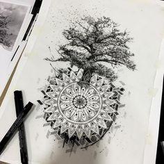Sketching for a tattoo #tattoo #blackflashwork #flashworkers #flashworkers #tree #mandala #dotworkerd #dotwork #oaksketch #tattooflash #blackworkers #onlyblackart #onlyblack #blackart