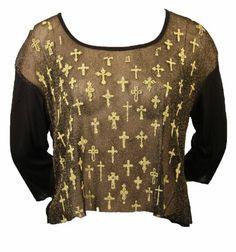 Sexy Mesh Long Sleeve Top Gold Cross Design