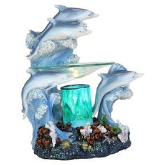 Polyresin Electric Oil/Tart Warmer - Dolphins