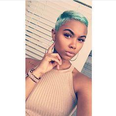 Fun color on @mz_dubz!   #thecutlife #shorthair #haircolor #selfie #stunner ✂️