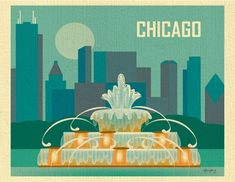 Chicago Skyline & Buckingham Fountain, Poster Art Print Wall Art for Home, Office, and Nursery - style 11 x 14 sold by Loose Petals. Shop more products from Loose Petals on Storenvy, the home of independent small businesses all over the world. Chicago Poster, Chicago Art, Chicago Skyline, Chicago Illinois, Skyline Art, Chicago Tattoo, Rockford Illinois, Chicago Gifts, Voyage Usa