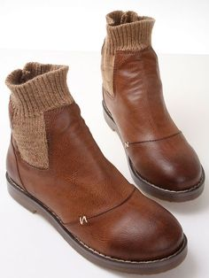 Brown Round Toe Contrast Sweater Boots 41.20