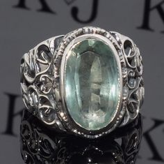 925 Sterling Silver men's ring with Fluorite handcrafted unique jewellery #KaraJewels #Fluorite #Sterlingsilver #ring #jewellery