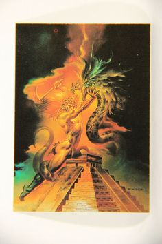 L010264 Boris Vallejo 1991 Card / Mayan Serpent - 1983 - Card #67 / ARTWORK