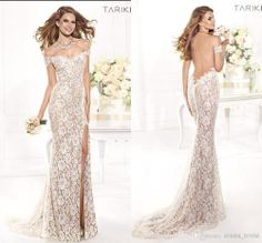 2014 New Sexy Lace Dresses Exquisite Sexy Mermaid Champagne Tulle Open back Side slit Court Train Floor length Prom Dresses US $179.99