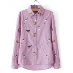 To find out about the Purple Lapel Long Sleeve Cats Embroidered Blouse at SHEIN, part of our latest Blouses ready to shop online today! Latest Tops, Poker Online, Blouse Online, Embroidered Blouse, Preppy Style, Blouse Designs, Shirt Blouses, Printed Shirts, Blouses For Women