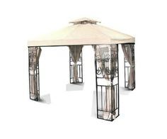 Flexzion 8x8 Gazebo Top Canopy Replacement Cover Ivory  Dual Tier with Plain Edge Polyester UV30 Protection Waterproof for Outdoor Garden Patio Lawn Sun Shade ** Visit the image link more details.