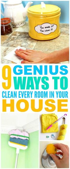 These 9 cleaning hacks for every room in the house are THE BEST! I'm so glad I found these AMAZING tips! Now I have fast and easy home cleaning tips and tricks! Definitely pinning!