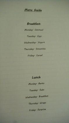 school year menu idea