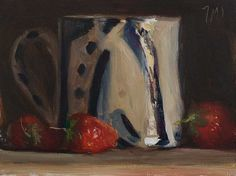 daily painting titled Cup with strawberries - click for enlargement