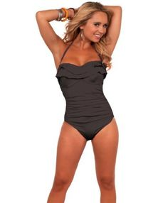 Adjustable String Halter Ruffle Top One Piece Bathing Suit Swimsuit Swimwear Hot from Hollywood. $34.99