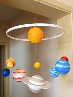 how to make solar system mobileRisultato immagini per solar system projects for kids Solar System Mobile, Solar System Crafts, Solar Light Crafts, Sistema Solar Diy, Science Projects, School Projects, School Ideas, Solaire Diy, Solar System Projects For Kids