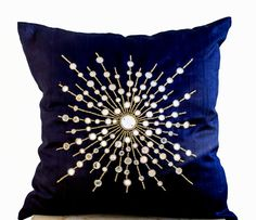 Items similar to Navy blue silk pillow cover, Mirror embroidery couch pillows, Premium decorative sheesha silk pillow, Mother's day gifts, Star burst pillows on Etsy Navy Blue Bedding, Navy Blue Throw Pillows, Blue Pillow Cases, Pillow Covers, Cushion Embroidery, Embroidered Pillowcases, Style Deco, Silk Pillow, Silk Bedding