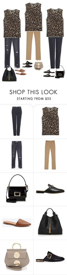 """""""Untitled #2860"""" by yuenchewwan ❤ liked on Polyvore featuring Topshop, J.Crew, Joseph, Roger Vivier, Gucci, Lanvin and Chloé"""