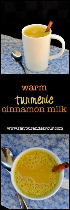 Warm Turmeric Cinnamon Milk  www.flavourandsavour.com #turmeric Can't sleep? Try this before bed.