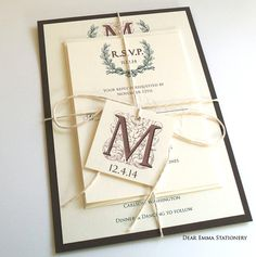Rustic and Romantic Wedding Invitations Sets - Outdoor, Nature, Twine Wedding Invites - Sample only on Etsy, $2.99