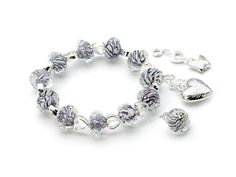 Faceted Glass Beads with Silver Charms Bracelet. #Fapos