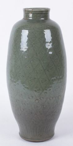 "Large Celadon Glaze Chinese Vase, Ming Dynasty with repeated incised decoration. 15 1/2"" tall"
