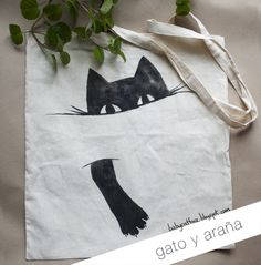 'Black Cat Holding On' Tote Bag by Jenn Inashvili Tote Bags Handmade, Cat Bag, Patchwork Bags, Fabric Bags, Printed Tote Bags, Cloth Bags, Fabric Painting, Fabric Crafts, Purses And Bags