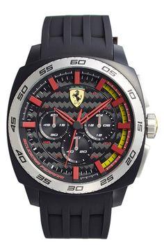 Scuderia Ferrari 'Aerodinamico' Chronograph Silicone Strap Watch, 46mm