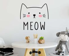 Cats With Blue Eyes Product Kids Wall Decals, Nursery Wall Decals, Vinyl Decals, Cat Bedroom, Removable Wall Stickers, Cat Wall, Bedroom Themes, Bedroom Ideas, Bedrooms
