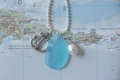 beachcomber nautical charm necklace - nautical anchor necklace - anchor freshwater pearl sea glass necklace on Etsy, $24.00