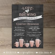 love is brewing bridal shower coffee rose gold wedding engagement party tea party chalkboard invitation printable
